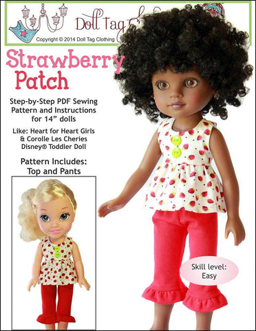 Strawberry Patch Top and Pants for Les Cheries and Hearts for Hearts Dolls