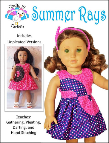 pdf doll clothes sewing pattern Crafty Lil Turkey Summer Rays dress designed to fit 18 inch American Girl dolls