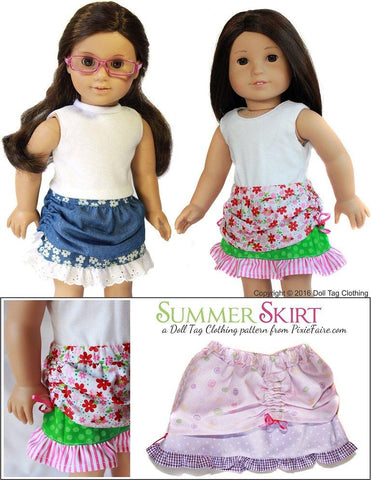 pdf doll clothes sewing pattern Doll Tag Clothing Summer Skirt designed to fit 18 inch American Girl dolls