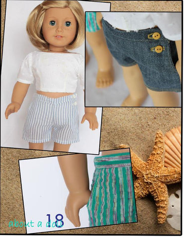 "Sun & Sand Shorts Set 18"" Doll Clothes Pattern"
