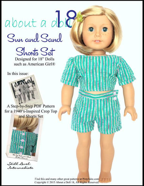 About A Doll Sun Amp Sand Shorts Set Doll Clothes Pattern 18