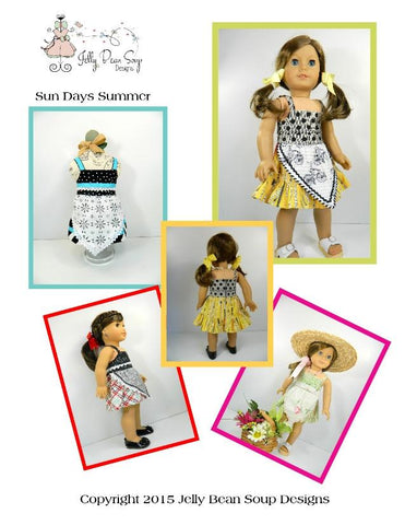 "Sun Days Summer 18"" Doll Clothes Pattern"