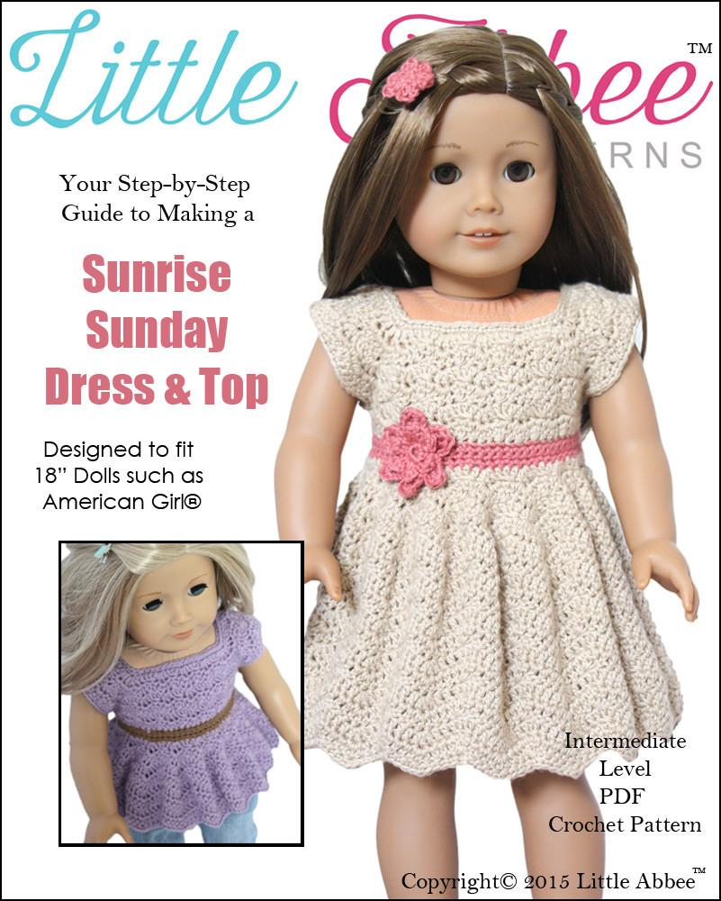Little Abbee Sunrise Sunday Dress Doll Clothes Pattern 18 inch ...