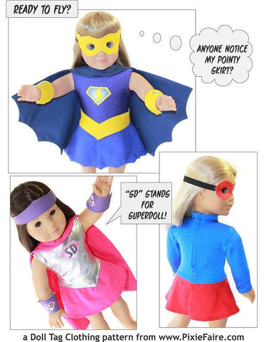 "Superhero Outfit 18"" Doll Clothes Pattern"