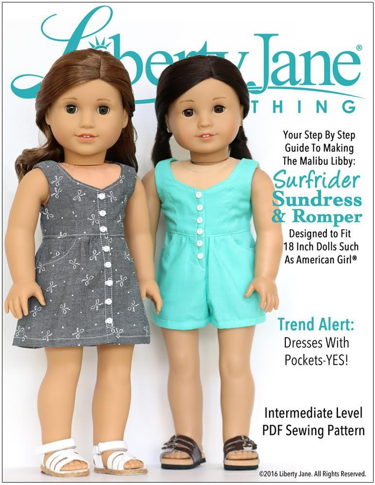 Liberty Jane Surfrider Sundress and Romper Doll Clothes Pattern 18 ...