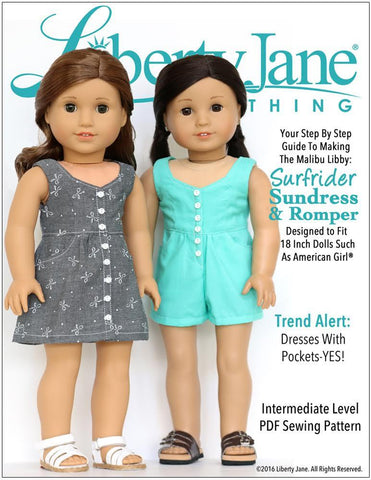 "Liberty Jane 18 Inch Modern Surfrider Sundress and Romper 18"" Doll Clothes Pattern Pixie Faire"