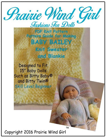 Baby Bailey Knit Sweater and Blankie Knitting Pattern