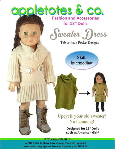 "Sweater Dress 18"" Doll Clothes Pattern"