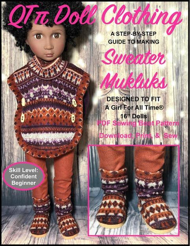 pdf doll clothes sewing pattern sweater mukluks boots designed to fit 16 inch A girl for all time dolls