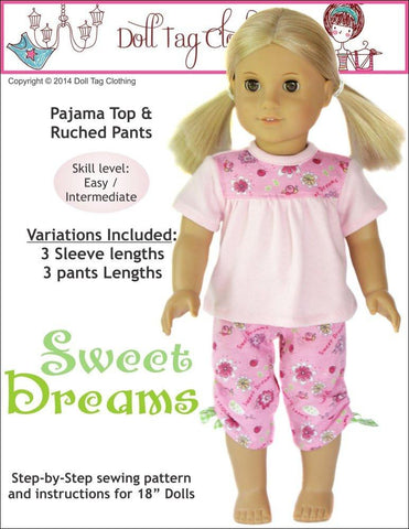 "Doll Tag Clothing 18 Inch Modern Sweet Dreams PJ Bundle 18"" Doll Clothes Pattern Pixie Faire"