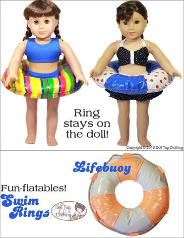 "Doll Tag Clothing 18 Inch Modern Swim Rings 18"" Doll Accessories Pixie Faire"