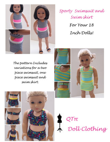 "QTπ Doll Clothing 18 Inch Modern Summer Fun Sporty Swimsuit 18"" Doll Clothes Pixie Faire"