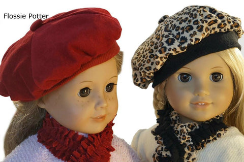 "Tam Cap & Ruffled Scarf 18"" Doll Clothes"