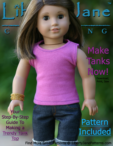 "Liberty Jane 18 Inch Modern FREE Tank Top 18"" Doll Clothes Pattern Pixie Faire"