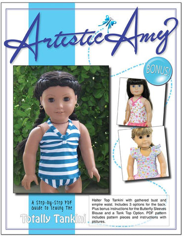 "Artistic Amy 18 Inch Modern Tankini Swimsuit and Top 18"" Doll Clothes Pattern Pixie Faire"