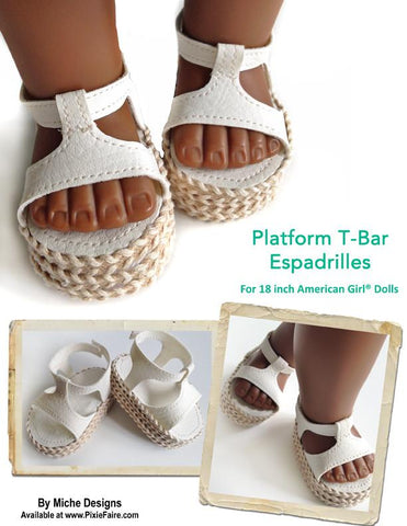"Miche Designs Shoes Platform T-Bar Espadrille 18"" Doll Shoe Pattern Pixie Faire"