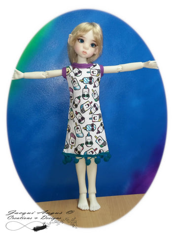 Teardrop Dress and Headband Pattern for MSD Ball Jointed Dolls