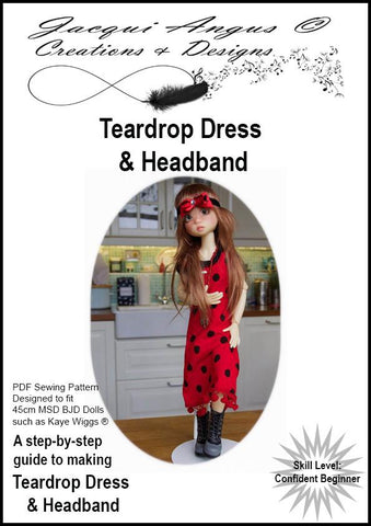 Teardrop Dress and Headband Pattern for MSD BJD Dolls