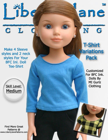 Liberty Jane BFC Ink T-Shirt Variations Pattern For BFC Ink Dolls Pixie Faire