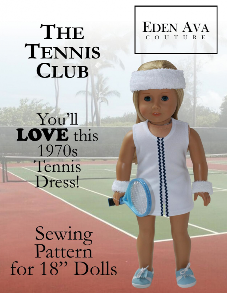 ac4aaadc42135 1970's Tennis Dress 18 inch Doll Clothes Pattern PDF Download ...