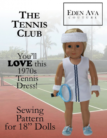 "1970's Tennis Dress 18"" Doll Clothes Pattern"