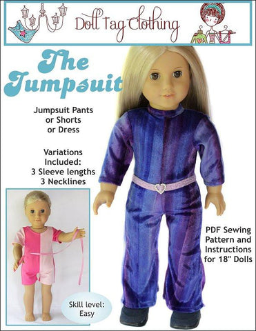 "The Jumpsuit 18"" Doll Clothes Pattern"