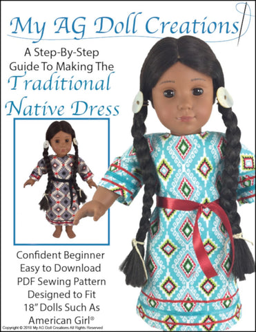pdf doll clothes sewing pattern My AG Doll Creations Traditional Native American Dress designed to fit 18 inch American Girl dolls