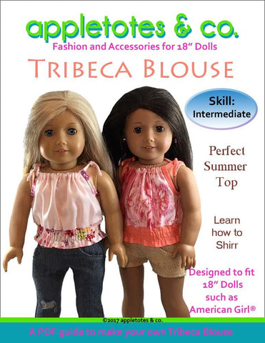 "Tribeca Blouse 18"" Doll Clothes Pattern"