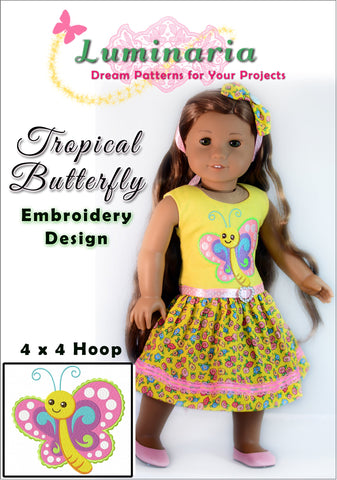 Tropical Butterfly Machine Embroidery Design
