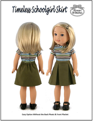 "Timeless Schoolgirl Skirt 13-14.5"" Doll Clothes Pattern"