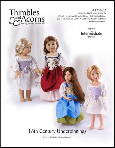 "18th Century Underpinnings Bundle 16"" and 18"" Doll Clothes Pattern"
