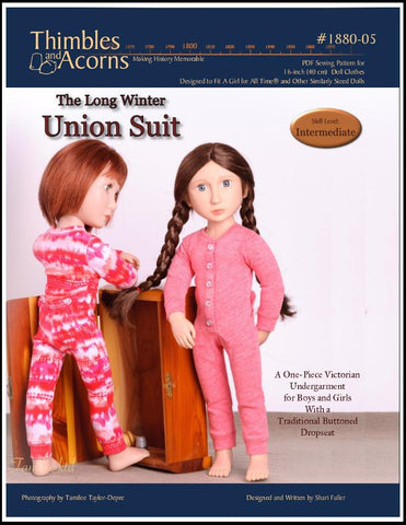 Thimbles and Acorns A Girl For All Time Union Suit Pattern for AGAT Dolls Pixie Faire