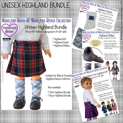 "Unisex Highland Bundle 18"" Doll Clothes Pattern"