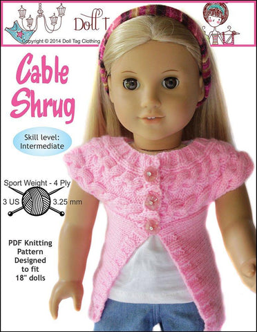 "Cable Shrug 18"" Doll Clothes Knitting Pattern"