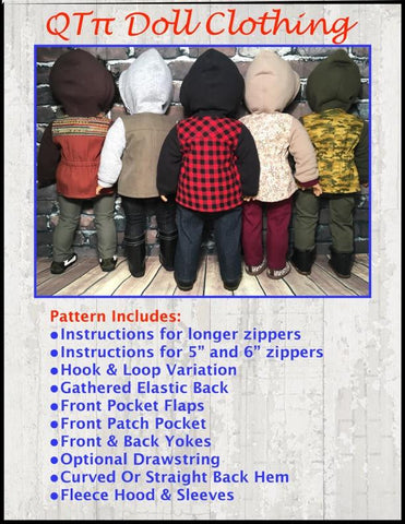 "Utility Jacket 18"" Doll Clothes Pattern"