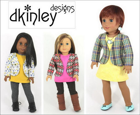"Perfectly Plaid Jacket 18"" Doll Clothes Pattern"