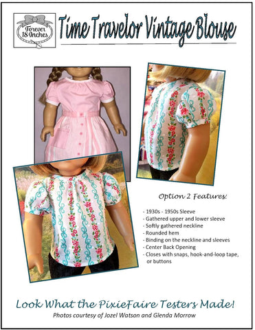 "Time Traveler Vintage Blouse 18"" Doll Clothes Pattern"