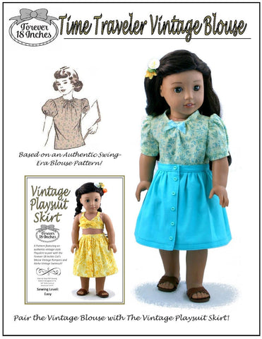 "Time Traveler Vintage Blouse & Playsuit Skirt Bundle 18"" Doll Clothes Pattern"