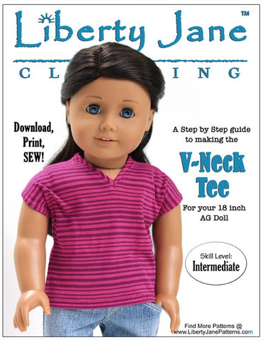 "Liberty Jane 18 Inch Modern V-Neck Tee 18"" Doll Clothes Pattern Pixie Faire"