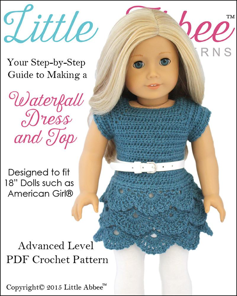 Little Abbee Waterfall Dress and Top Doll Clothes Pattern 18 inch ...