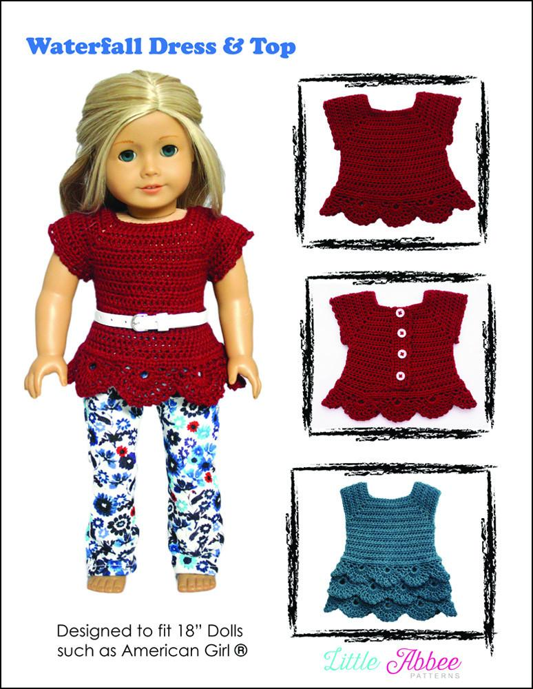 Little Abbee Waterfall Dress And Top Doll Clothes Pattern 18 Inch