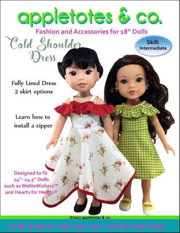 "Cold Shoulder Dress 14-14.5"" Doll Clothes Pattern"