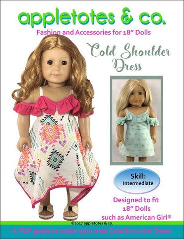 "Cold Shoulder Dress 18"" Doll Clothes Pattern"