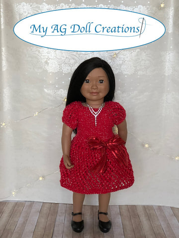 "Mita's Party Dress & Sweater Combo 18"" Doll Knitting Pattern"