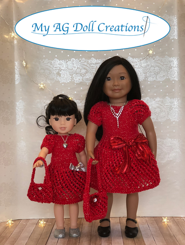 "Mita's Party Dress & Sweater Combo Knitting Pattern for 14-14.5"" Dolls"