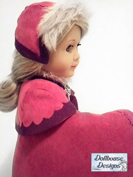 Dollhouse Designs Nordic Winter Cape Amp Cap Doll Clothes
