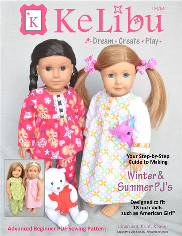 "Winter & Summer PJs 18"" Doll Clothes"