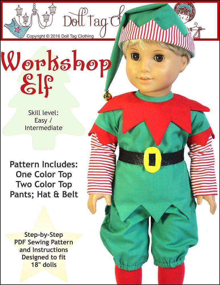 Doll Tag Clothing Workshop Elf Doll Clothes Pattern 18 inch American ...