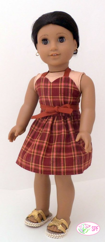 "Wrap & Tie Halter Dress and Top 18"" Doll Clothes Pattern"