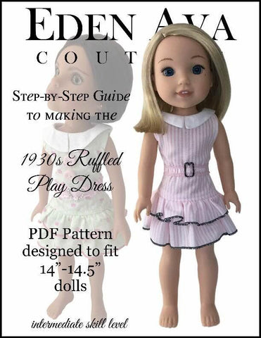"1930s Ruffled Play Dress 14-14.5"" Doll Clothes Pattern"